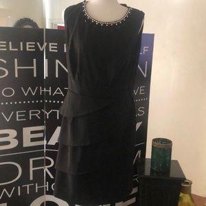 Black dress with beautiful beading &rhinestones